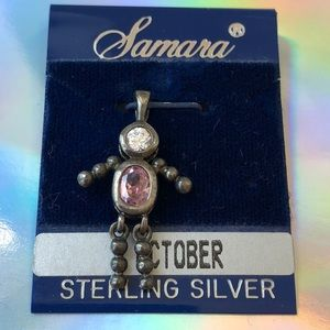 Jewelry - Vintage Sterling silver October baby boy charm